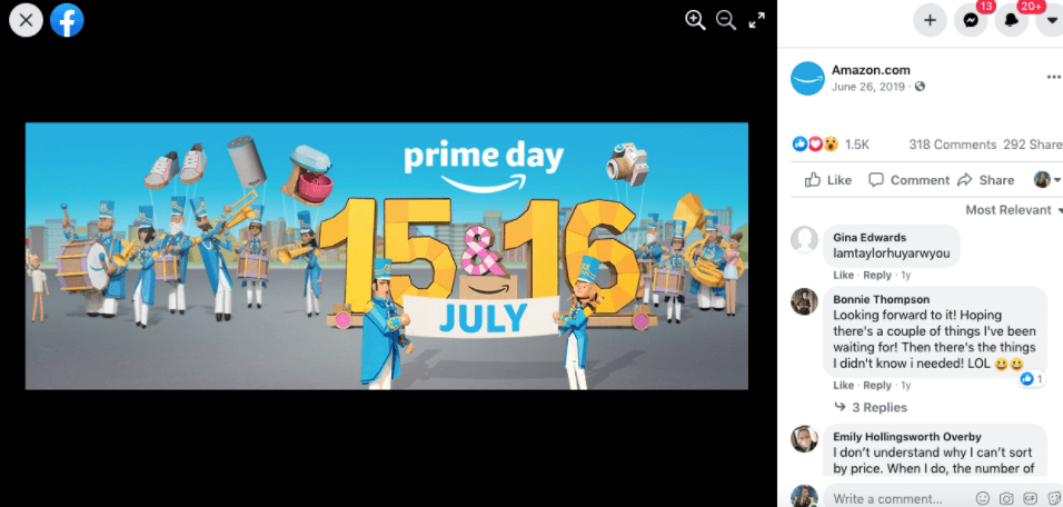 A post about 'prime day' sale on Amazon's Facebook page.